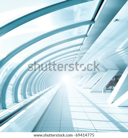 Glazed corridor in office center