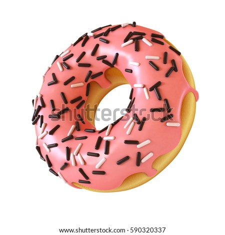 Glazed donut or doughnut with sprinkles 3d rendering ,