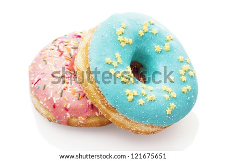 Glazed donuts isolated on white background