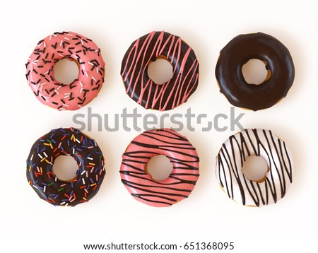 Glazed donuts or doughnuts set 3d rendering