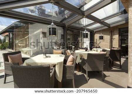 Glazed restaurant terrace
