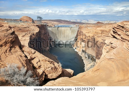 Glen Canyon Dam and Power Station near Page, Arizona.