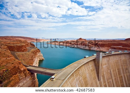 Glen Canyon Dam in Page, hydroelectric power plant  is delivering power for the whole area