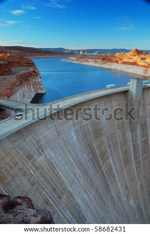 Glen Canyon Dam panorama with Colorado River in Lake Powell at Page, Arizona. - stock photo
