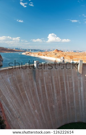 Glen Canyon Dam panorama with Colorado River in Lake Powell at Page, Arizona, USA
