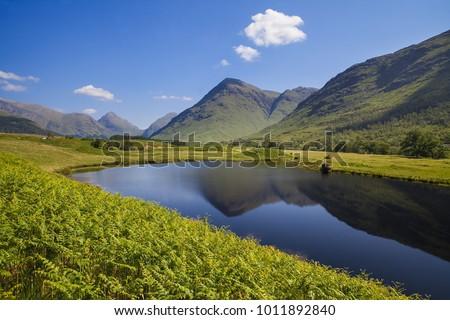 Glencoe Lochan area of forest and lake north of Glencoe Village Lochaber Scottish Highlands Scotland UK