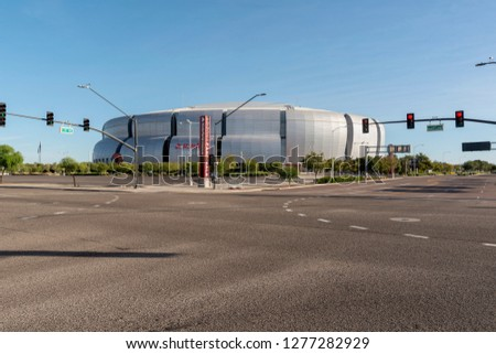 Glendale, AZ, USA - November 03, 2018: State Farm Stadium, is a multi-purpose football stadium. It is the home of the Arizona Cardinals of the National Football League and the annual Fiesta Bowl. #1277282929