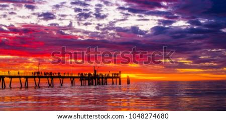 Glenelg jetty sunset #1048274680