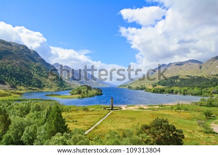 Glenfinnan Monument and Loch Shiel lake spring landscape. Lochaber, Highlands of Scotland, United Kingdom, Europe