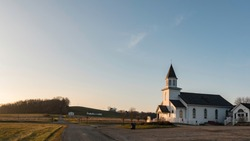 Glenford, Ohio/USA- January 5, 2019: Web banner of Hopewell United Methodist Church in rural Perry County, Ohio was first established in 1860 and has been at the present location for over 150 years.