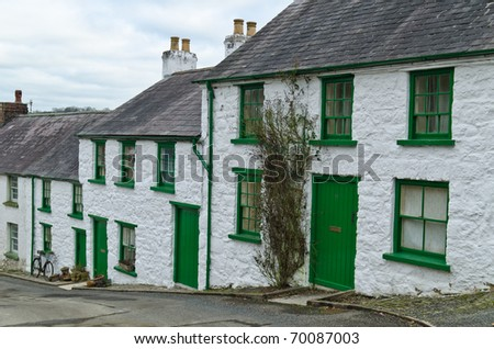 Glenoe vbillage cottages, county Antrim, Ireland - stock photo