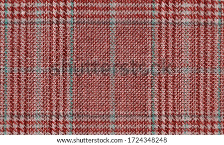 Glenurquhart check is made of red, brown woolen fabric. Tweed, Wool Background Texture. Coat close-up. Expensive men's suit. High resolution Stock photo ©