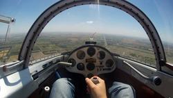 Glider Plane Pilot in the Cockpit