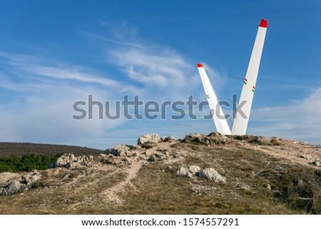 Gliding monument in the Buda mountains (Farkas-hegy) near Budaörs, Hungary on a sunny autumn day. Stock fotó ©