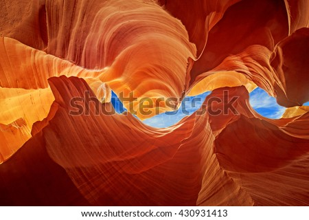 glimpse of blue sky over the antelope slot canyon Stock photo ©