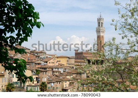 glimpse of the historic city of Siena in Tuscany