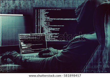 Glitch effect. Hacker working on a code on dark digital background with digital interface around.