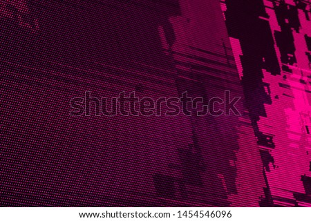 Glitch Matrix Effect RGB LED Pixel Pitch - Color Mixing LEDS. Perspective view SMD Technology Screen Display