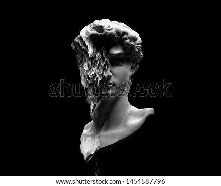 Glitch pixel sorting black and white illustration of Michelangelo's David head sculpture 3D rendering in the style of modern graphics isolated on black background.