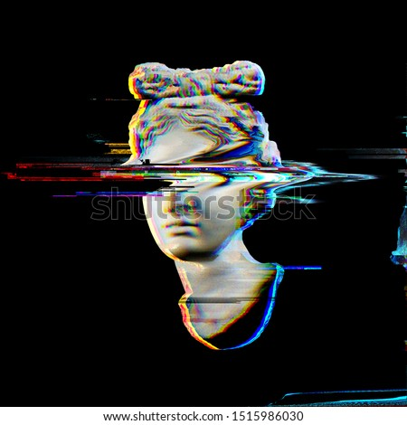 Glitch pixel sorting illustration of greek female classical head sculpture 3D rendering in the style of modern glitch graphics isolated on black background.