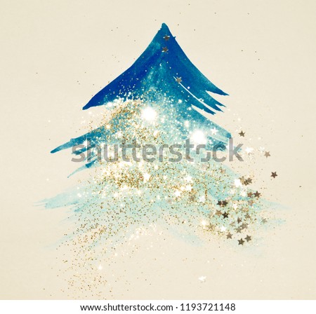 Glitter and glittering stars on abstract blue watercolor Christmas tree in vintage nostalgic colors.