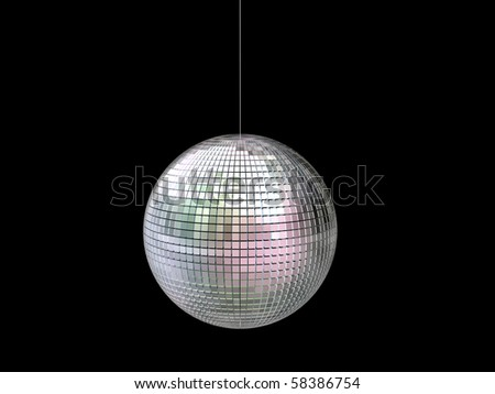 glitter ball isolated on black background
