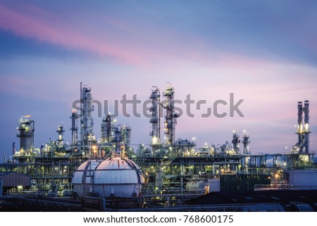 Glitter lighting of petrochemical plant with sky twilight, Manufacturing of petrochemical industrial, Oil and gas refinery plant at twilight #768600175