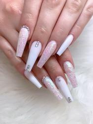 Glitter nail art with gel polish