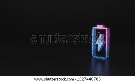 glitter neon violet pink ombre vertical vertical symbol of charging empty battery with flash 3D rendering on black background with blurred reflection with sparkles