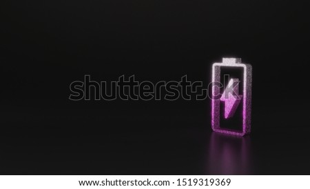 glitter pink silver vertical vertical symbol of charging empty battery with flash 3D rendering on black background with blurred reflection with sparkles