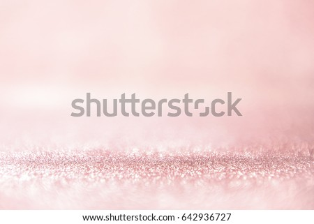 Glitter rose gold lights background. silver and pink. defocused, pastel style. #642936727