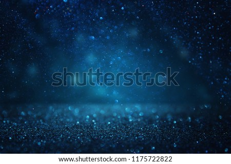 glitter vintage lights background. black and blue. de-focused #1175722822