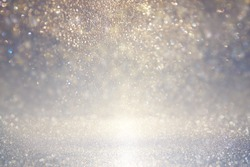 glitter vintage lights background. blue, silver. defocused