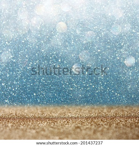 glitter vintage lights background. gold and blue. defocused.  - Shutterstock ID 201437237