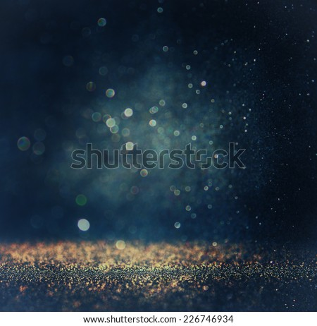 glitter vintage lights background. gold, silver, blue and black. de-focused.  #226746934