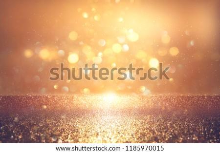 glitter vintage lights background. silver and gold. de-focused. #1185970015