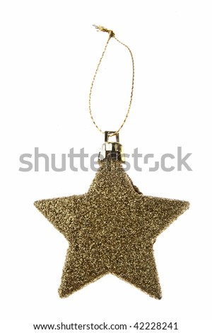 Glittering christmas gold star on white background