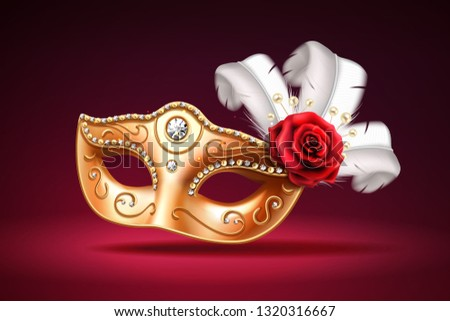 Glittering colombina mask for face cover at carnival or masquerade. Festival costume part with feather and rose flower. Golden masque with diamonds for brazil festive or venice mardi gras.