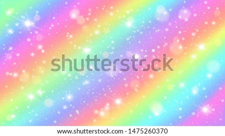 Glitters rainbow sky. Shiny rainbows pastel color magic fairy starry skies and glitter sparkles. Unicorn rainbow, fantasy princess or star watercolor universe background illustration