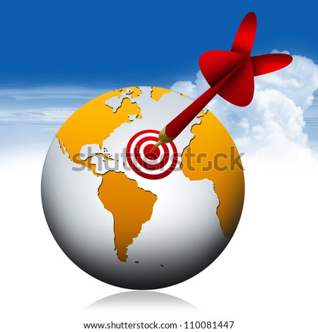 Global And Dart for Business Concept With Blue Sky Background