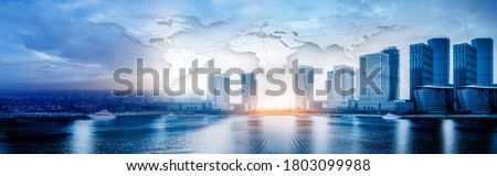 global business background, With tall business towers. Business buildings on the skyline on the sea. city scape and network connection concept.  business globalization Connection technologies.