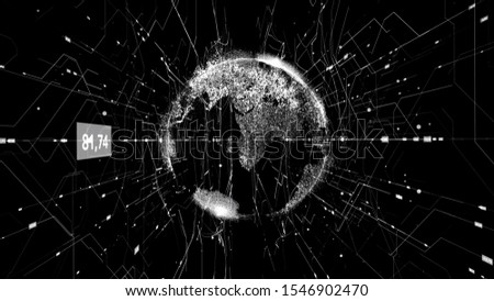 Global business concept of connections and information transfer in the world. Animation. Abstract animation of the beautiful earth hologram flying in cyberspace structure.
