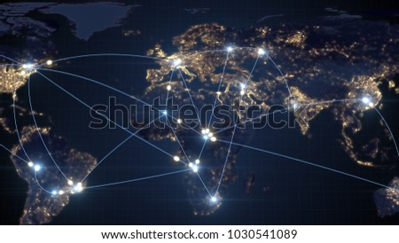 Global business concept of connections and information transfer in the world 3d illustration