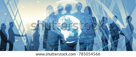 Global business concept. Silhouette of business people. ストックフォト ©