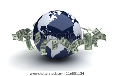 Global business concept with dollar (computer generated image)