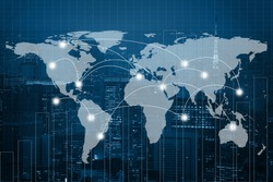 Global business connection concept. Double exposure world map on capital financial city and trading graph background. Elements of this image furnished by NASA