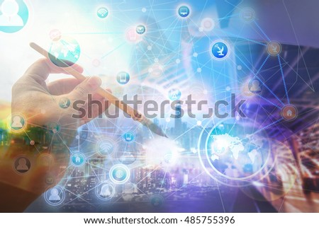 global business connection network concept technology hand paint Brush fine art background process style #485755396