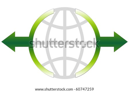 Global Business Icon Concept - green color - stock photo