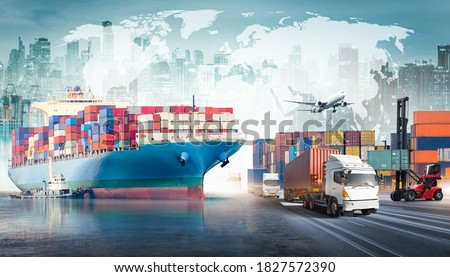 Global business logistics import export background and container cargo freight ship transport concept Photo stock ©