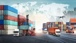 Global business logistics import export background and container truck, forklift truck lifting cargo container in shipping yard transport concept